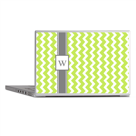 Lime Grey Chevron Monogram Laptop Skins
