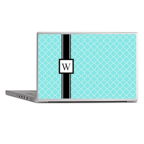 Aqua Black Quatrefoil Monogram Laptop Skins