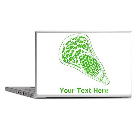 Lacrosse Crosse. Green Text. Laptop Skins
