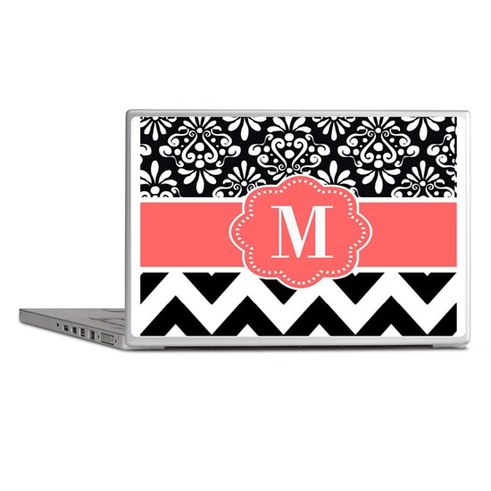 Black Coral Chevron Monogram