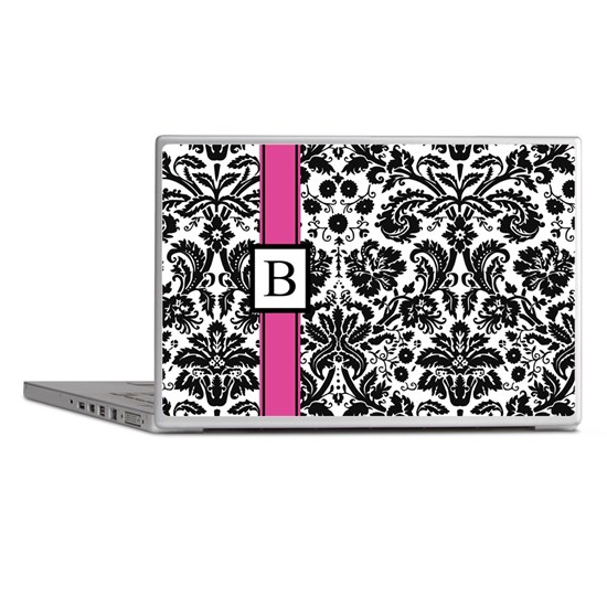 Pink Black Damask Monogram