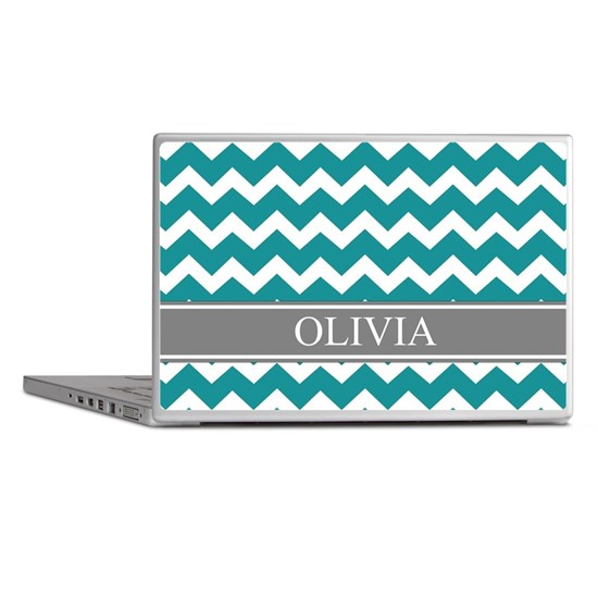 Teal Grey Chevron Name