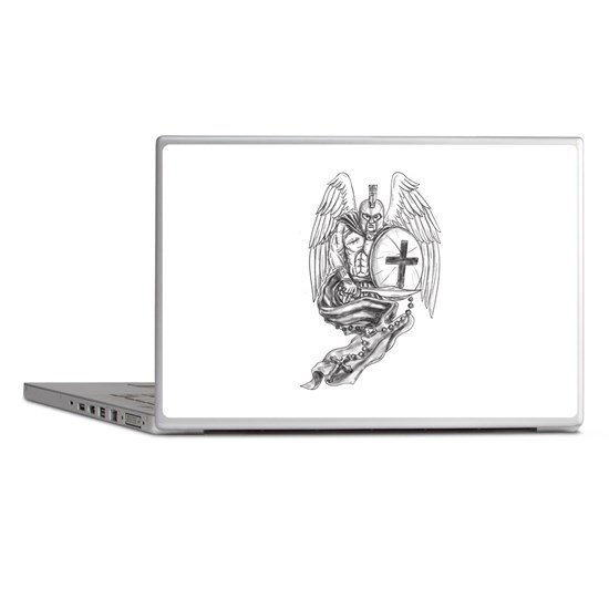 8d30f1df469d8 Spartan Warrior Angel Shield Rosary Tattoo Laptop by patrimonio ...