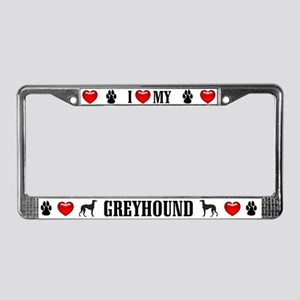 Greyhound Hearts License Plate Frame