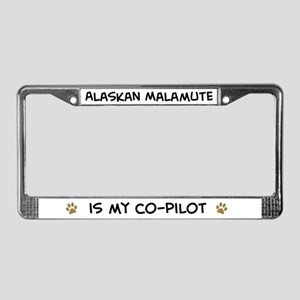Co-pilot: Alaskan Malamute License Plate Frame