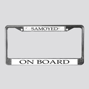 Cartoon Samoyed License Plate Frame