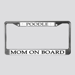 White Poodle Mom License Plate Frame