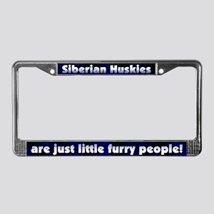 Furry People Siberian Husky License Plate Frame