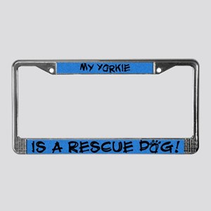 Rescue Dog Yorkie License Plate Frame