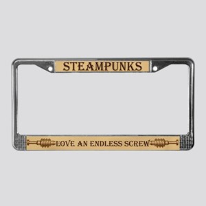 Steampunk Endless Screw License Plate Frame