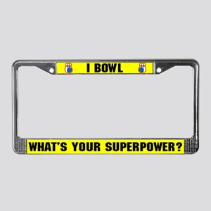 Bowling Superhero License Plate Frame