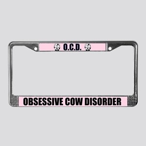 Pink Cow License Plate Frame