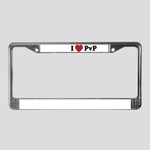I Love PvP License Plate Frame