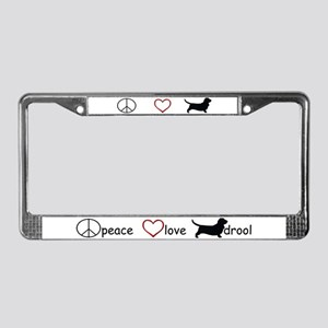 Peace, Love, Drool License Plate Frame