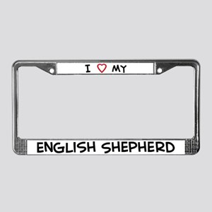 I Love English Shepherd License Plate Frame