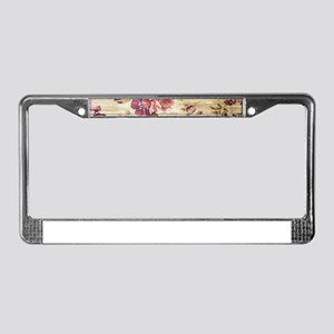 Vintage Romantic Floral Wood P License Plate Frame