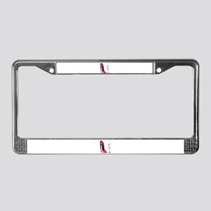 Champagne and Red Stiletto License Plate Frame
