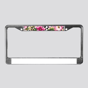 Animal Print Flower License Plate Frame