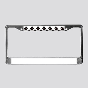 Cat Paw Print Pattern License Plate Frame