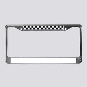 Black White Checkered License Plate Frame