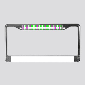 Fuchsia & Green Interlocking Stripes License Plate