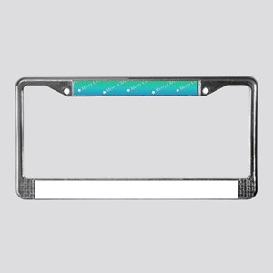Merry Christmas Text rainbow License Plate Frame
