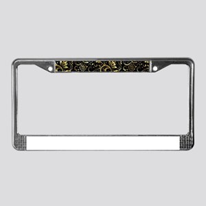 Elegant Floral Damasks In Blac License Plate Frame