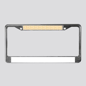 Yellow Greek Key Pattern License Plate Frame