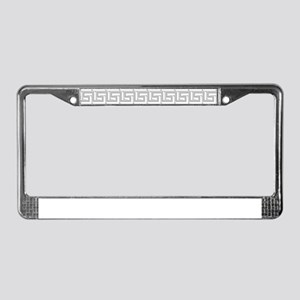 Elegant Gray Greek Key Pattern License Plate Frame