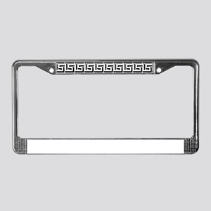 White on Black Greek Key Patte License Plate Frame