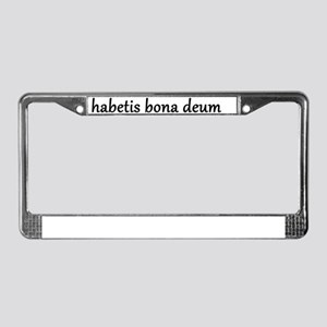 10x10_apparel_habetis_bona_deu License Plate Frame