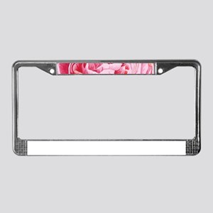 Elegant Pink Peony Flowers Clo License Plate Frame