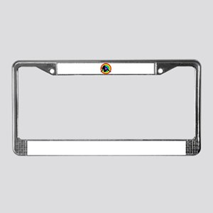 Rainbow Trucker Girl License Plate Frame