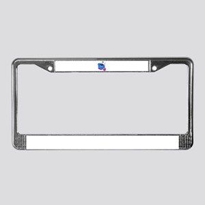 Cartoon Fish, pink, blue green License Plate Frame