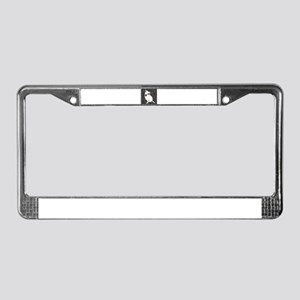 Cute white pit Bull circle pat License Plate Frame
