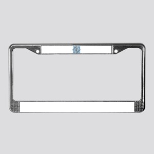 F Monogram - Letter F - Blue License Plate Frame