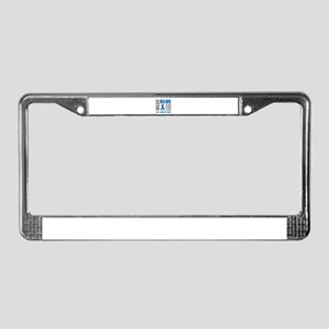 Blue Awareness Ribbon Customiz License Plate Frame
