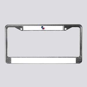 Custom Texas flag Heart License Plate Frame