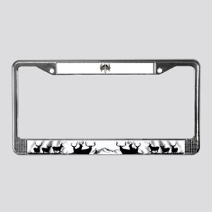 Whitetail skull on old glory License Plate Frame