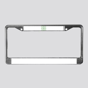 Light Green Damask License Plate Frame