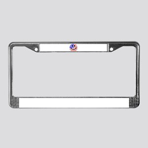 American Flag Smiley Face License Plate Frame