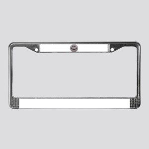 Silver faux glitter smiley face License Plate Fram