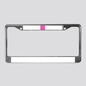 Hot pink music notes License Plate Frame