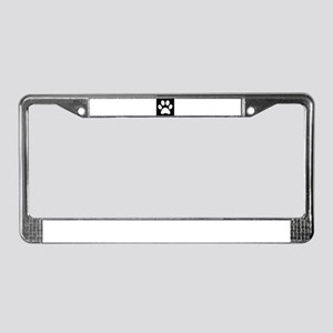 Black and white Paw print License Plate Frame