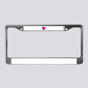 Personalizable Pink Heart with Crown License Plate