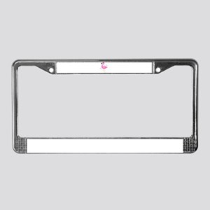 Pink Flamingo Hearts License Plate Frame