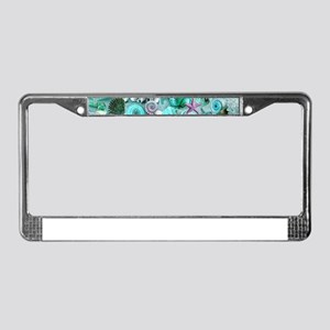 Green Seashells And starfish License Plate Frame