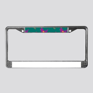 Colorful Chickens on Teal License Plate Frame