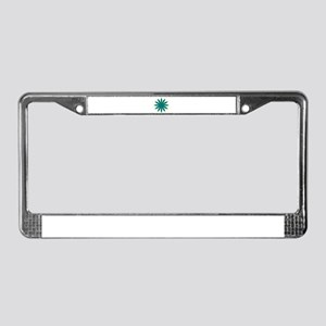 Green and Blue Flower License Plate Frame