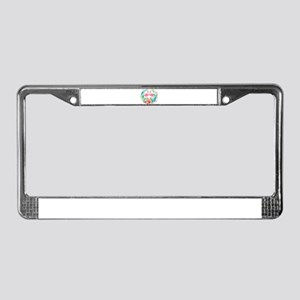 Flamingos With Colorful Tropic License Plate Frame